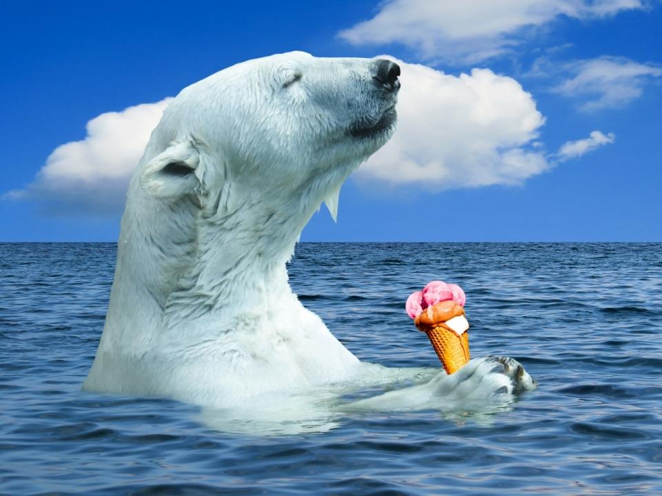 蓝天白云海面拿冰淇淋北极熊创意