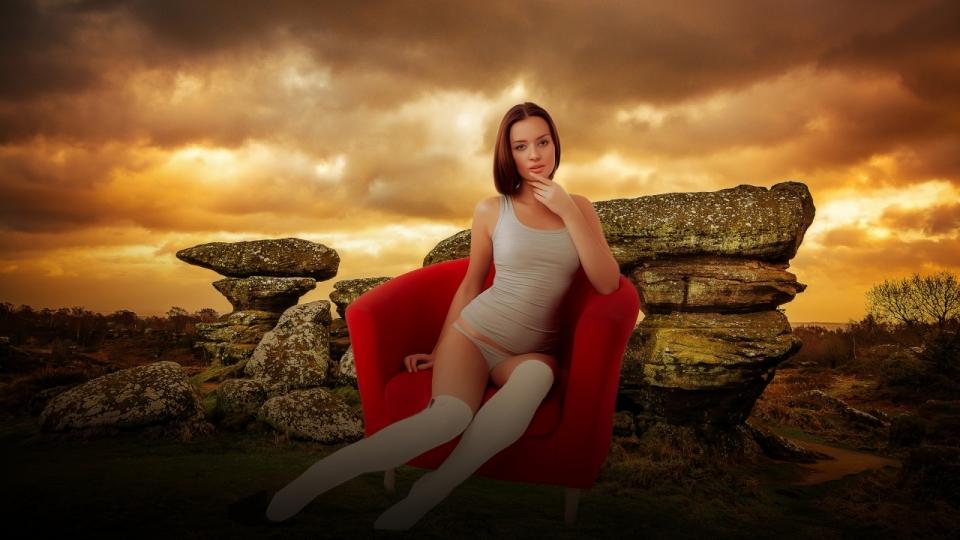 美女ps山石头红色椅子长发白丝金发