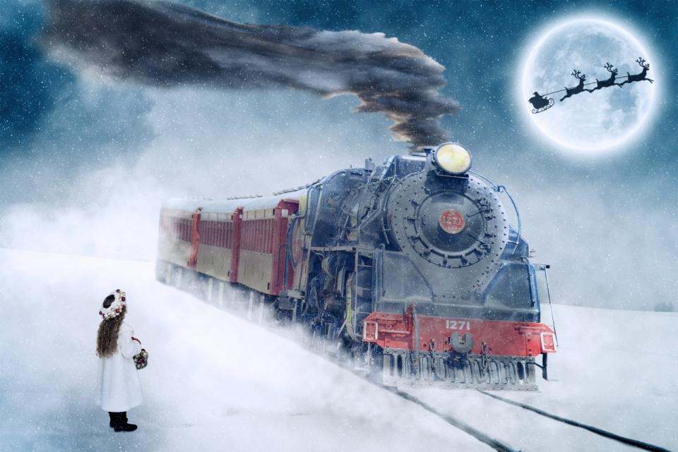 冬天雪地铁轨上的蒸汽火车和小女孩唯美插画