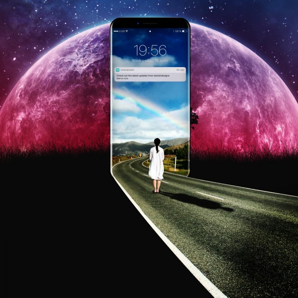 唯美宇宙星球背景走到手机中的创意广告