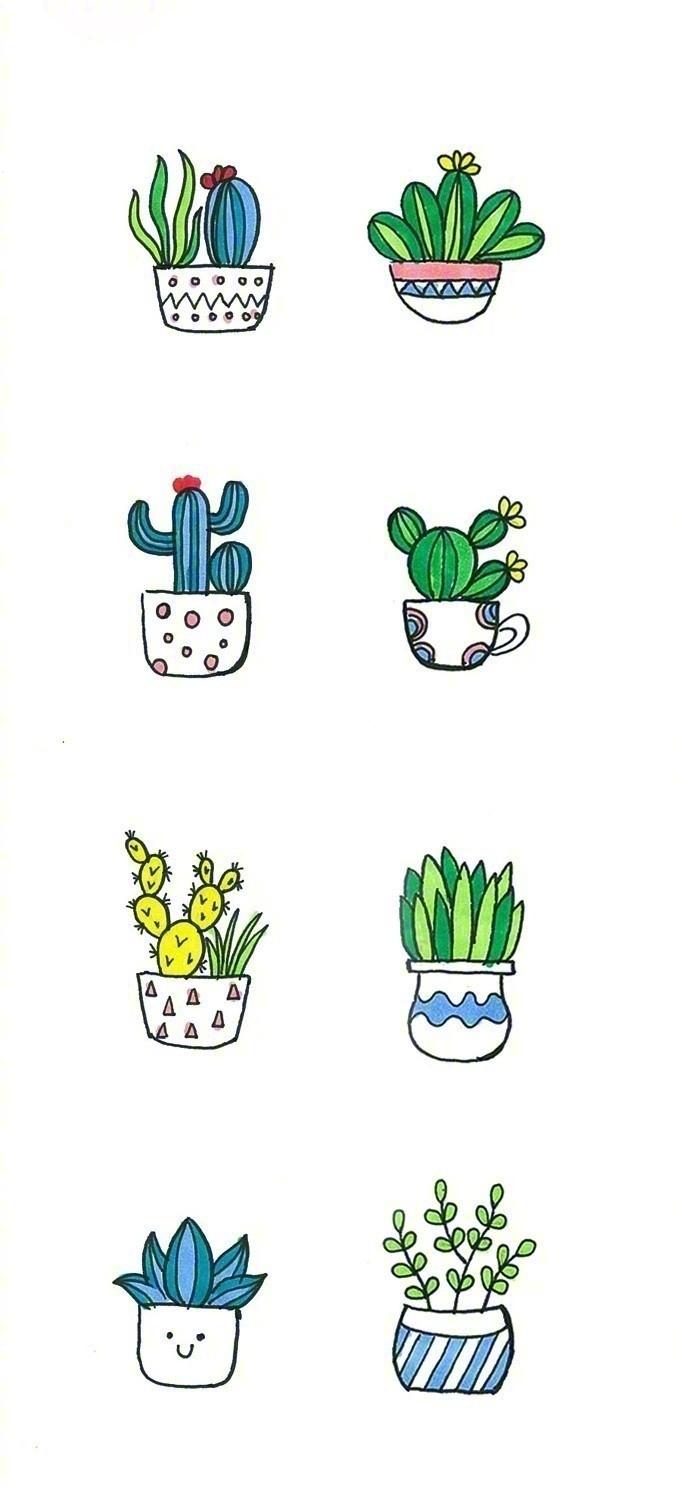 可爱简单的小盆栽简笔画写真图片