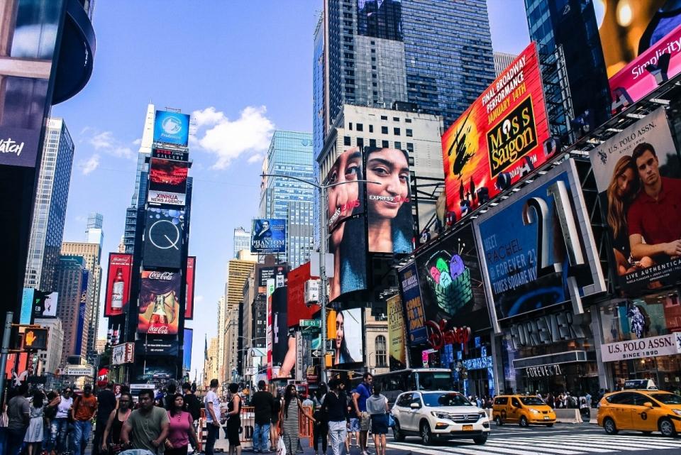 美国纽约市中心大街上